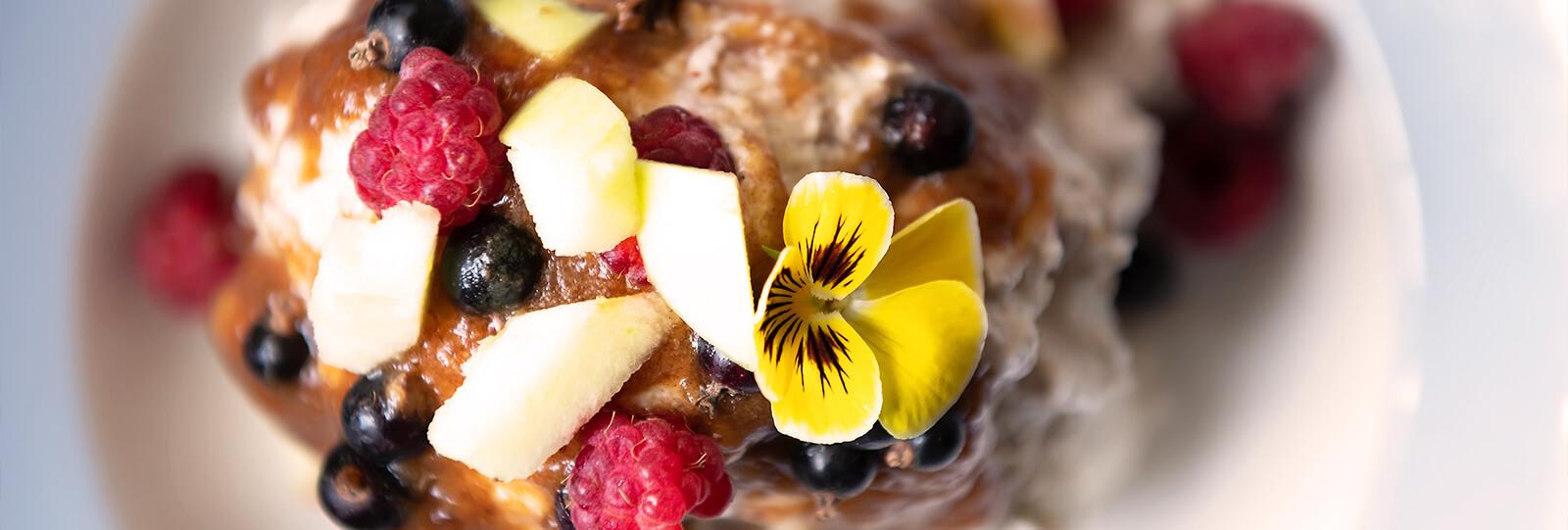 PFAS-holiday-garden-recipes-berry-dessert-pansy-flower-garnish
